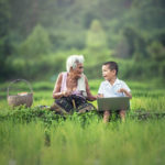Active listening boy and grandmother